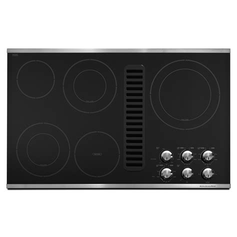 Kitchenaid Downdraft Electric Cooktop shop kitchenaid 5 element smooth surface electric cooktop with downdraft exhaust stainless