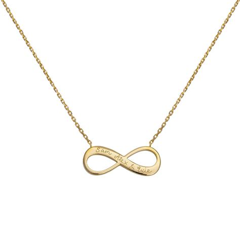 personalised 18 k gold plated infinity necklace by merci