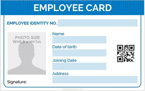 employee id card format  word microsoft word id