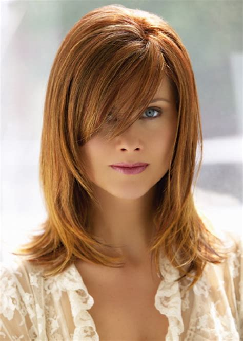 above shoulder length hair cuts with side bangs medium length haircuts with side bangs and layers