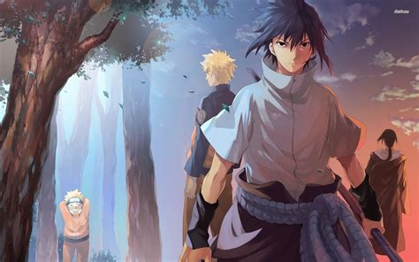 wallpaper background anime naruto naruto characters in the forest full hd wallpaper and