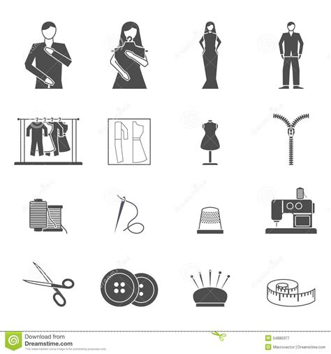 fashion design equipment list fashion designer tools icon set stock vector