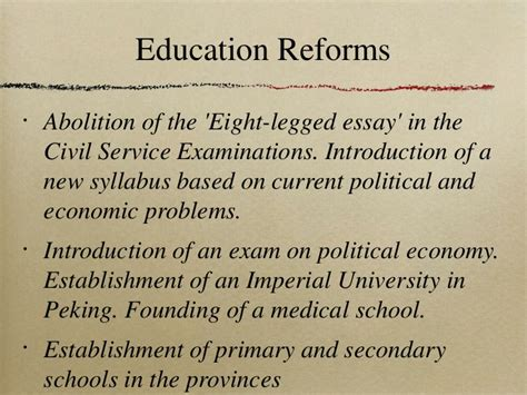 Reforms In Education Essay by The Hundred Days Reforms