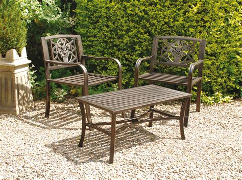uk gardens bronze metal 3 piece bistro garden table and 2