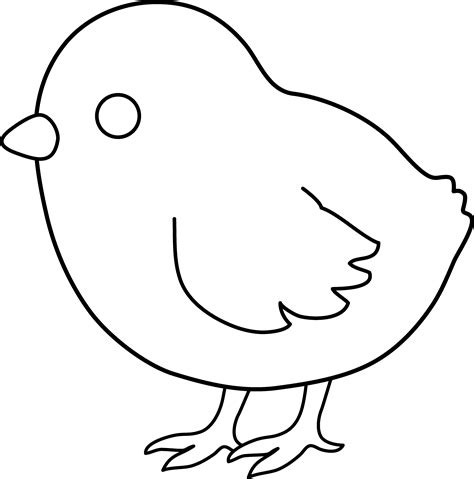 cute colorable baby chick free clip art