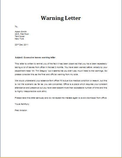 warning letter format 7 professional warning letter templates formal word