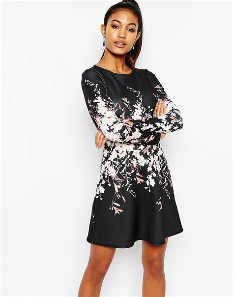 lipsy robe lipsy lipsy sleeve swing dress in floral placement