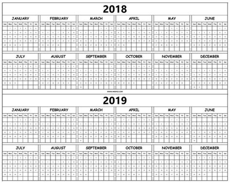 Print 2018 And 2019 Calendar Template With Year Holidays Pdf Printable Image 5182867 By Cub Scout Planning Calendar Template 2018 2019