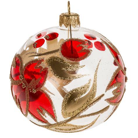 Ceramic Tree Decorations Boule De Noel Transparente Fleur Rouge Or 8 Cm Vente En