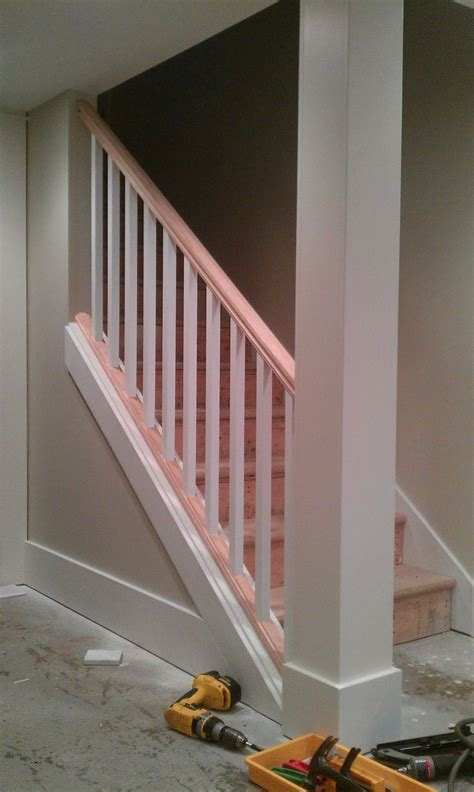 Replace Banister And Spindles by Basement Stair Removing Part Of The Wall And Replacing