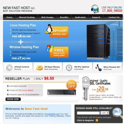hosting free website templates in css html js format for