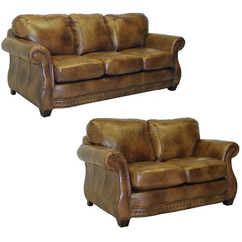 Italian Leather Sofa And Loveseat by Sterling Cognac Brown Italian Leather Sofa And Loveseat