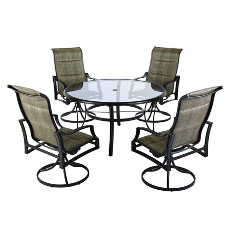 Hton Bay Patio Dining Set Hton Bay Statesville 5 Padded Sling Patio Dining Set Hton Bay Statesville 5 Padded Sling Patio