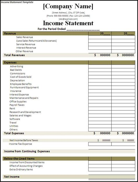 income statement template emmamcintyrephotographycom