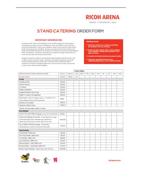 sle pdf form templates 5 catering order form template 28 images 5 catering