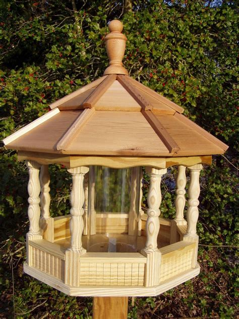Handmade Gazebos - large spindle gazebo bird feeder wood amish