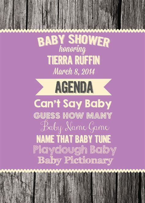 Baby Shower Itinerary by Camellia Events 14west Designs Ruffin Baby Shower Agenda