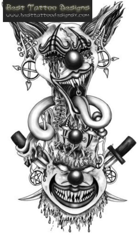 killer clown tattoos jester images designs