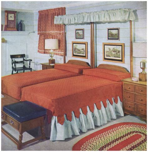 bedroom  twin beds  earlier decor    bedroom early american