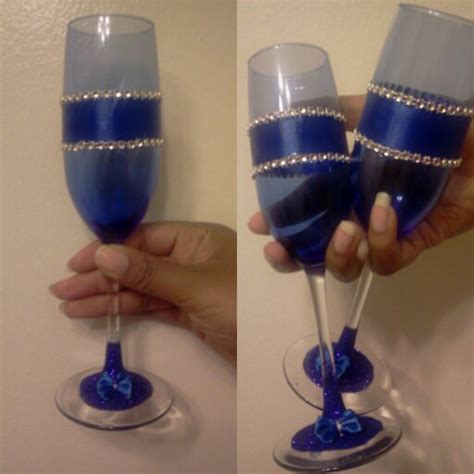 Royal Blue Glass diy royal blue chagne glasses glasses from dollar tree