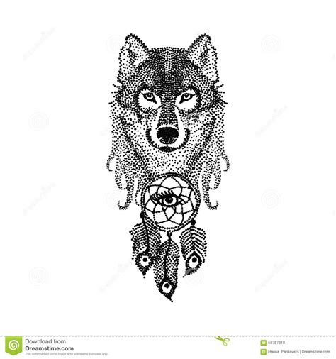 dotwork tattoo design stylized wolf face with dream