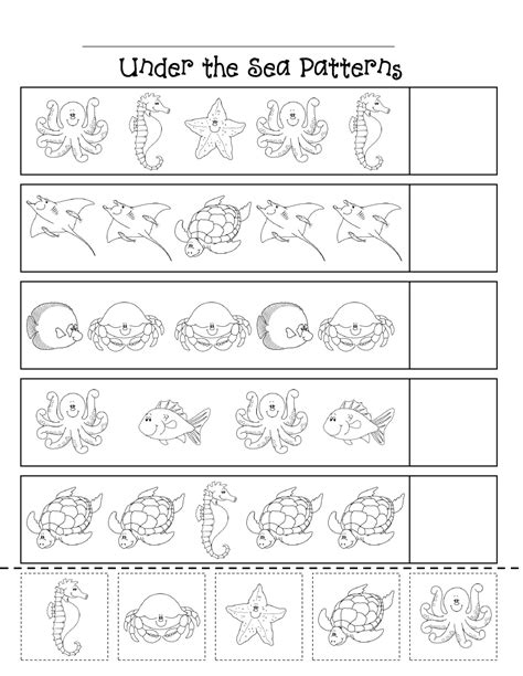 water animals worksheets kindergarten patterns scribd theme worksheets and themes