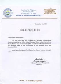 Certification Letter In The Philippines Cert
