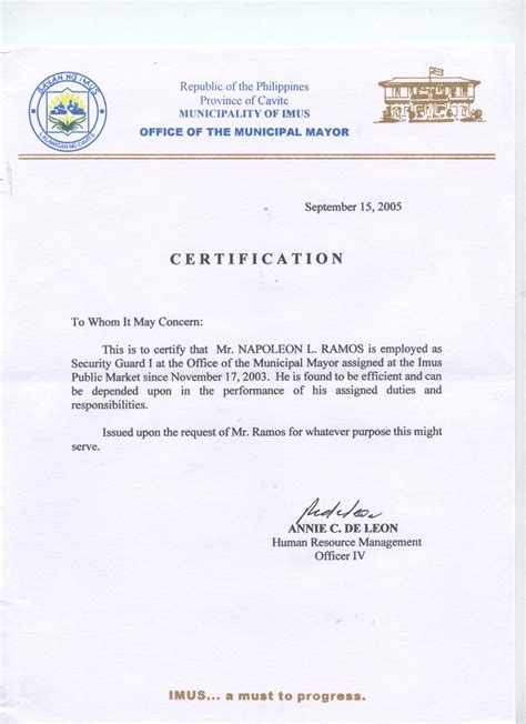 certification letter in the philippines search results for exle of certificate of employment