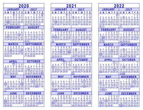 three year calendar template 2020 2021 2022 3 year calendar