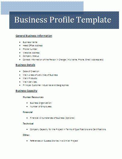Business Profile Template Free Business Templates Company Profile Template