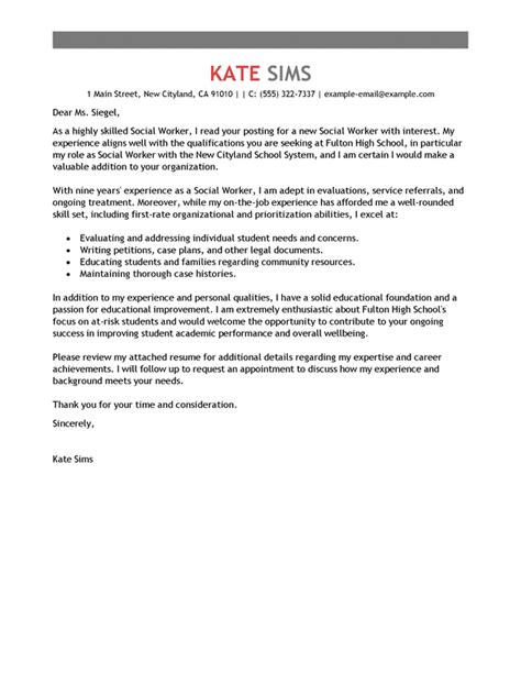 cover letter for social services job best social worker cover letter exles livecareer