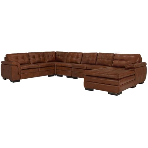 large brown leather sectional city furniture trevor medium brown leather large right