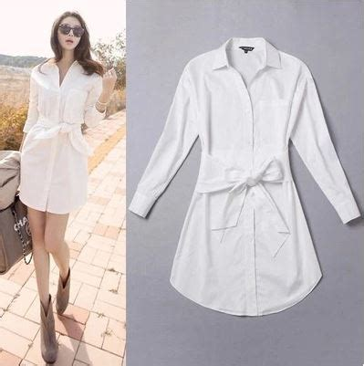 Blouse Denimatasan Denim Import Fashion Wanita new korean style fashion plus size white shirt dress with sashes sleeve