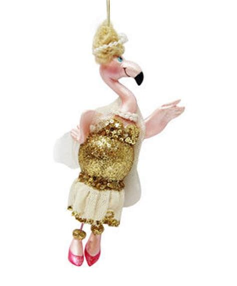 dress ornaments pink flamingo in gold cocktail dress