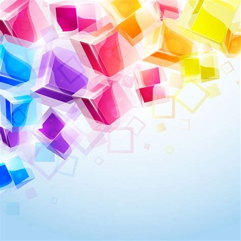 abstract colorful 3d cubes vector background free