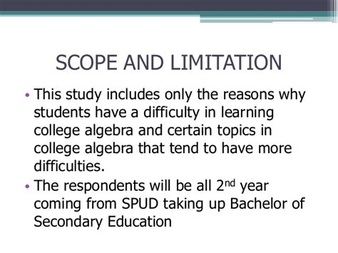 exle of thesis scope and limitation algebra difficulties among second year bachelor of secondary