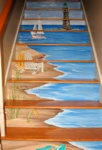 Stairs Artist by Painted Staircases With A Nautical Beach Vibe Blue
