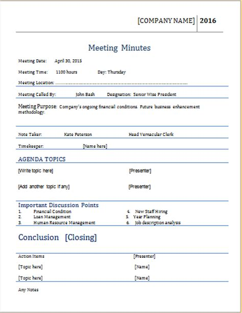meeting minutes template for ms word word document templates