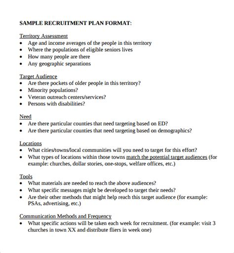 sle recruiting plan template 9 free documents in pdf