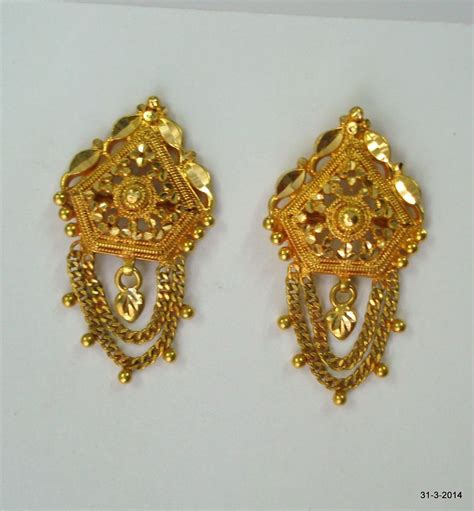 Gold Handmade Jewelry - traditional design 20k gold earrings handmade jewelry
