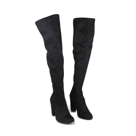 stretch high heel boots overknee boots with high heel black stretch alcantara