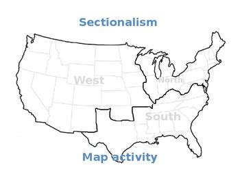 sectionalism map sectionalism map activity by tate s greats teachers pay