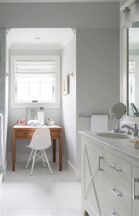 Bathroom Dressing Bench Gray Bathroom Nook With Freestanding Makeup Vanity