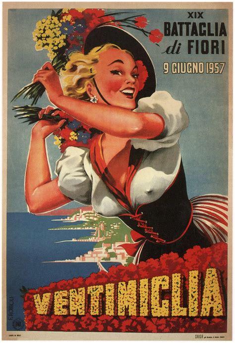 ventimiglia retro tourism poster  filippo romoli
