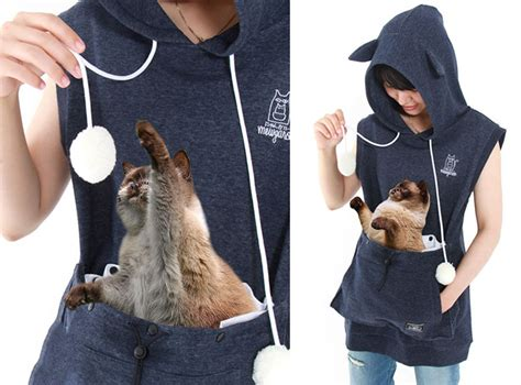 Cat Hoddie Jaket cat hoodie with kangaroo pouch lets you take your cat