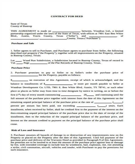 contract for deed template image collections templates