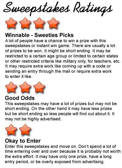 Winnable Sweepstakes - sweepstakes ratings chart