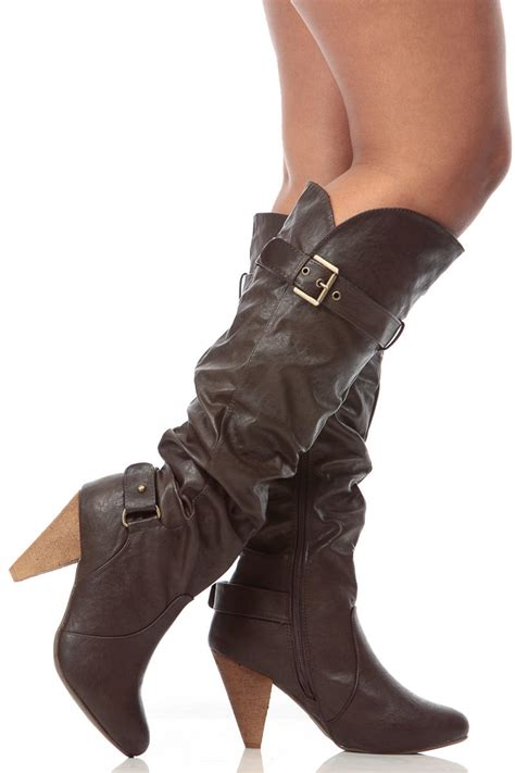 brown faux leather knee high slouch cone from cici boots