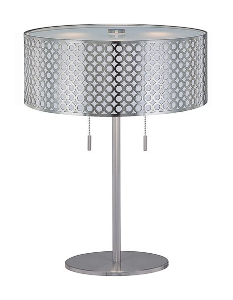 Lite Source Lighting Aluminum Table by Table L With Net Metal Shade By Lite Source Ls