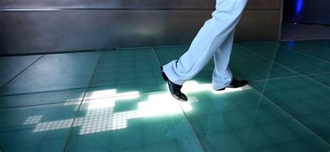 interactive floor sensacell s interactive floor shows trail of led footprints